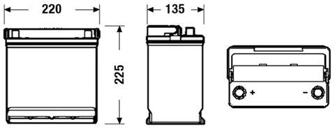 štartovacia batéria EXIDE EXCELL - 12V, 45Ah, 330A, 220mm