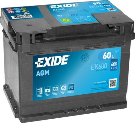 štartovacia batéria EXIDE AGM - 12V, 60Ah, 242mm, 680A