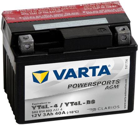 Motobatérie PDM VARTA POWERSPORTS AGM  - 12V, 3Ah, 40A, 114mm