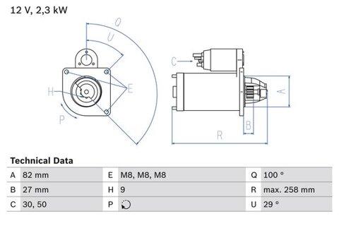štartér BOSCH - 258mm