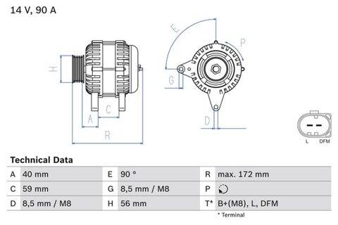 Alternátor BOSCH - 172mm