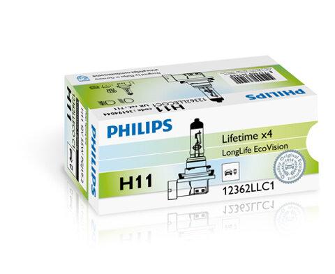 Žiarovky H11 PHILIPS LongLife EcoVision  - H11, 12V, 55W, PGJ19-2