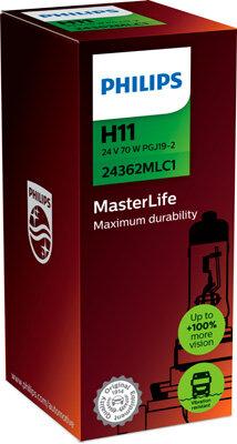 Žiarovky H11 PHILIPS MasterLife  - H11, 24V, 70W, PGJ19-2
