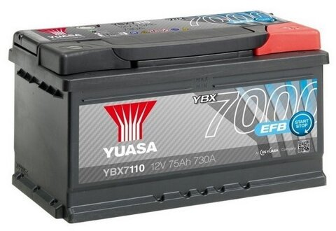 štartovacia batéria YUASA YBX7000 EFB Start Stop Plus Batteries - 12V, 730A, 75Ah, 317mm