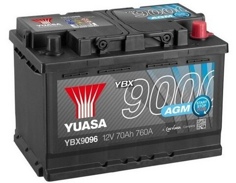 štartovacia batéria YUASA YBX9000 AGM Start Stop Plus Batteries - 12V, 760A, 70Ah, 278mm