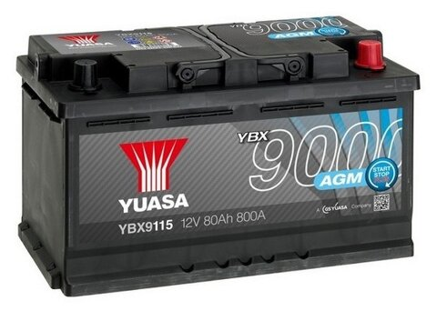 štartovacia batéria YUASA YBX9000 AGM Start Stop Plus Batteries - 12V, 800A, 80Ah, 317mm